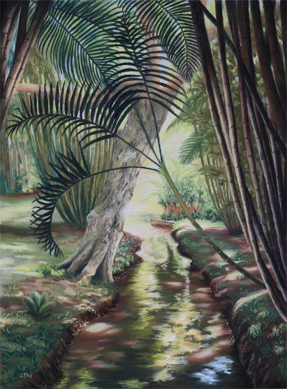 Quelque part au Jardin de Pamplemousse, peinture contemporaine d'un paysage par Vanessa Lim
