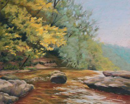 Juste avant la chute, peinture contemporaine d'un paysage par Vanessa Lim