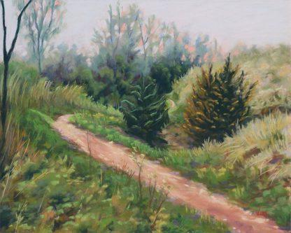 Au détour du chemin, peinture contemporaine d'un paysage par Vanessa Lim