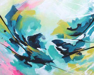 Tropical vibes, peinture contemporaine abstraite de Vanessa Lim