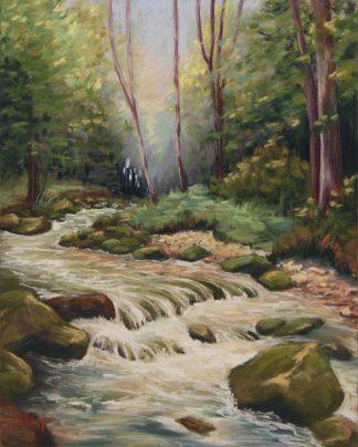 A l'ombre des sous-bois, peinture contemporaine d'un paysage par Vanessa Lim