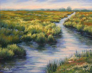 Un soir en Brière, peinture contemporaine d'un paysage par Vanessa Lim