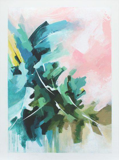 La côte Normande au printemps, peinture contemporaine abstraite de Vanessa Lim