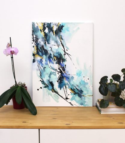 Bercée par le vent froid de l'hiver, peinture contemporaine abstraite de Vanessa Lim