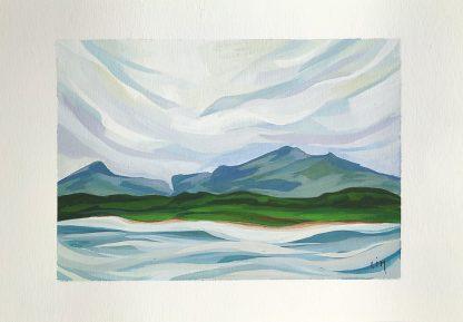 Hauts plateaux de l'Ile Maurice (mini) - paysage à la gouache de Vanessa Lim