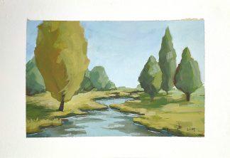 Souvenir de Brière, paysage d'imagination à la gouache, de Vanessa Lim