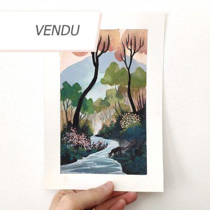 Le cheval au bord de l'eau, illustration originale de Vanessa Lim (vendu)
