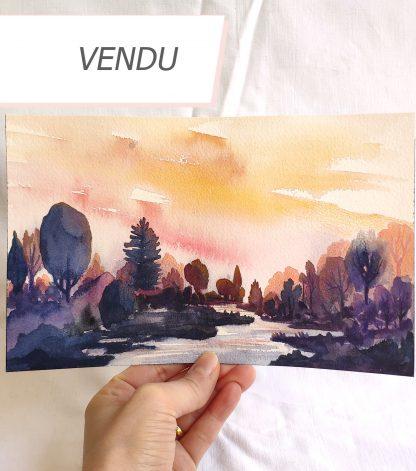 Crépuscule en orange, paysage à l'aquarelle de Vanessa Lim (vendu)
