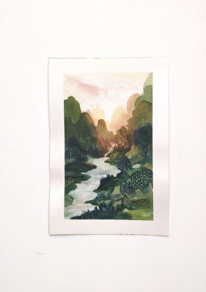 Jeux de lumière, paysage à l'aquarelle de Vanessa Lim