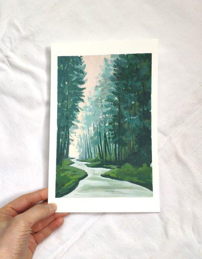Entourée par les pins, paysage à la gouache de Vanessa Lim