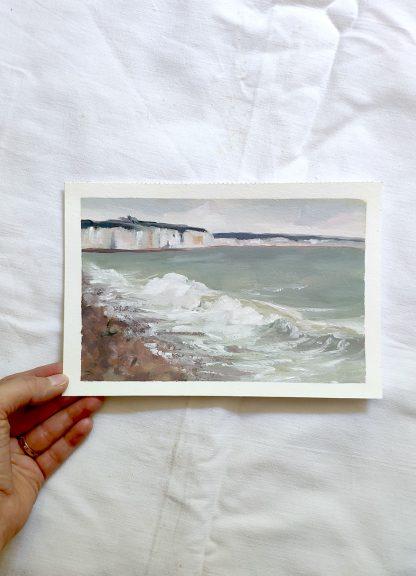 Sur une plage de Dieppe, paysage à l'huile de Vanessa Lim