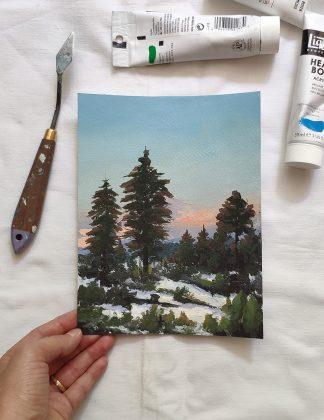 Le jour se couche sur les pins, paysage à l'acrylique de Vanessa Lim