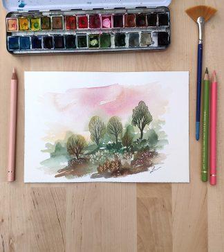 Enchanted woods n°3, paysage à l'aquarelle de Vanessa Lim