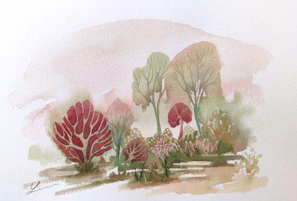 Enchanted woods n°4, paysage à l'aquarelle de Vanessa Lim