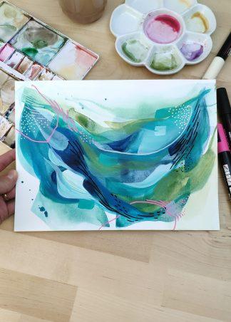 Courant marin, peinture abstraite de Vanessa Lim