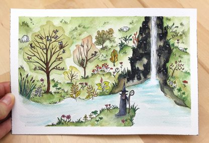 Les yeux de la cascade 1, illustration de Vanessa Lim