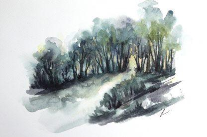 Enchanted woods n°1, paysage à l'aquarelle de Vanessa Lim