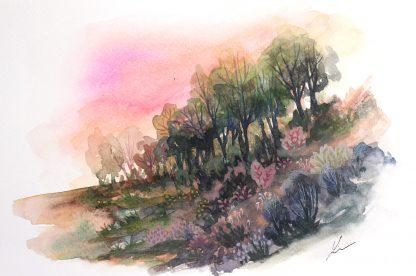 Enchanted woods n°2, paysage à l'aquarelle de Vanessa Lim