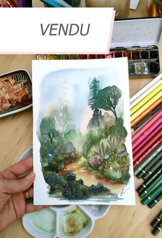 Enchanted woods n°7, paysage à l'aquarelle de Vanessa Lim (vendu)