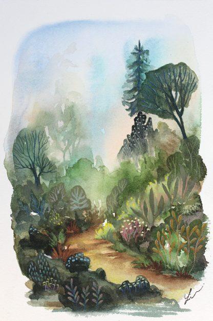 Enchanted woods n°7, paysage à l'aquarelle de Vanessa Lim