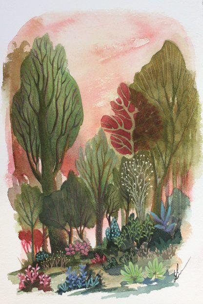 Enchanted woods n°8, paysage à l'aquarelle de Vanessa Lim
