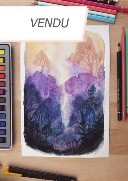 Enchanted woods n°9, paysage à l'aquarelle de Vanessa Lim (vendu)