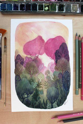 Enchanted woods n°10, paysage à l'aquarelle de Vanessa Lim