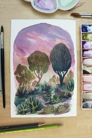 Lumière d'un soir d'été, paysage à l'aquarelle de Vanessa Lim