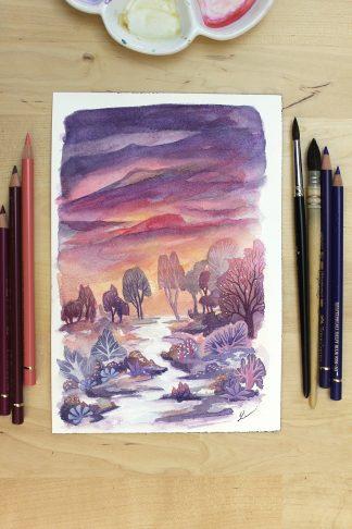 Une journée qui s'achève, paysage à l'aquarelle de Vanessa Lim