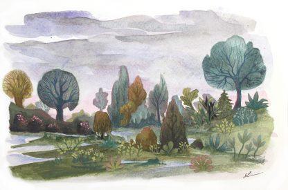 Après la pluie, paysage à l'aquarelle de Vanessa Lim