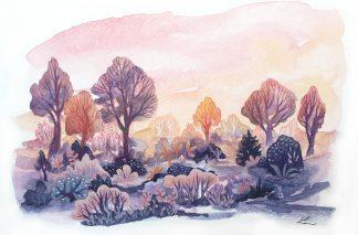 Juste avant le coucher du soleil, paysage à l'aquarelle de Vanessa Lim
