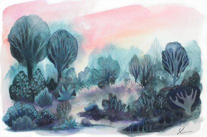 Petit bois au crépuscule , paysage à l'aquarelle de Vanessa Lim