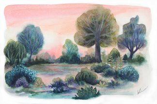 Reflets sur le lac, paysage à l'aquarelle de Vanessa Lim