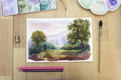 L'envolée, paysage à l'aquarelle de Vanessa Lim