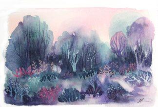 Les couleurs de l'aube, paysage à l'aquarelle de Vanessa Lim
