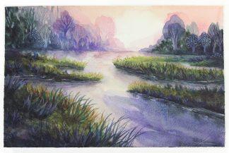 Un début de soirée au marais, paysage à l'aquarelle de Vanessa Lim