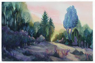 L'arbre bleu, paysage à l'aquarelle de Vanessa Lim