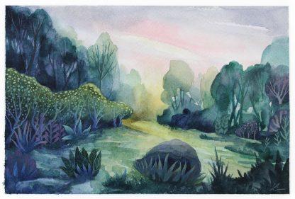 Variation en vert, paysage à l'aquarelle de Vanessa Lim